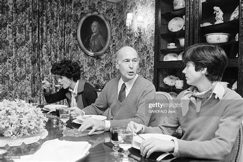 Valery Giscard D'Estaing With Family On Benouville Street