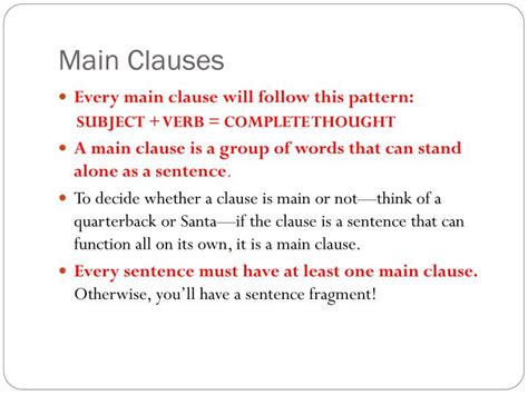 PPT - Main and Subordinate Clauses PowerPoint Presentation