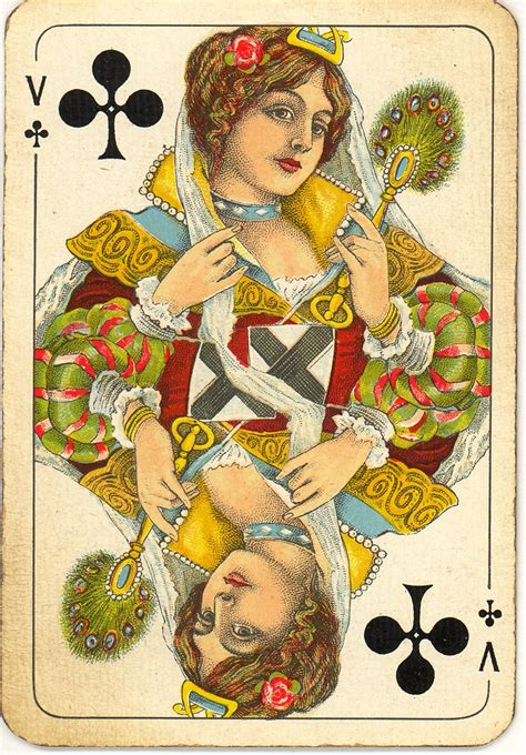 Dutch playing cards from 1920-1927: Queen of Clubs | Flickr
