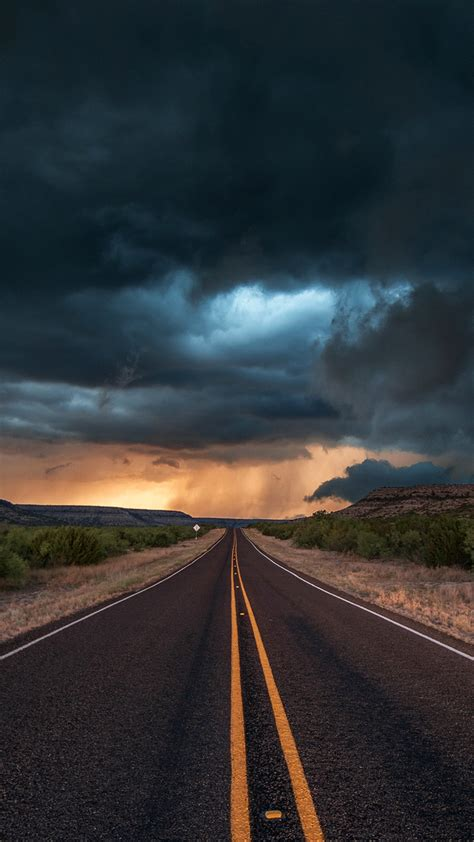 road-state-texas-clouds-iPhone-Wallpaper - iPhone
